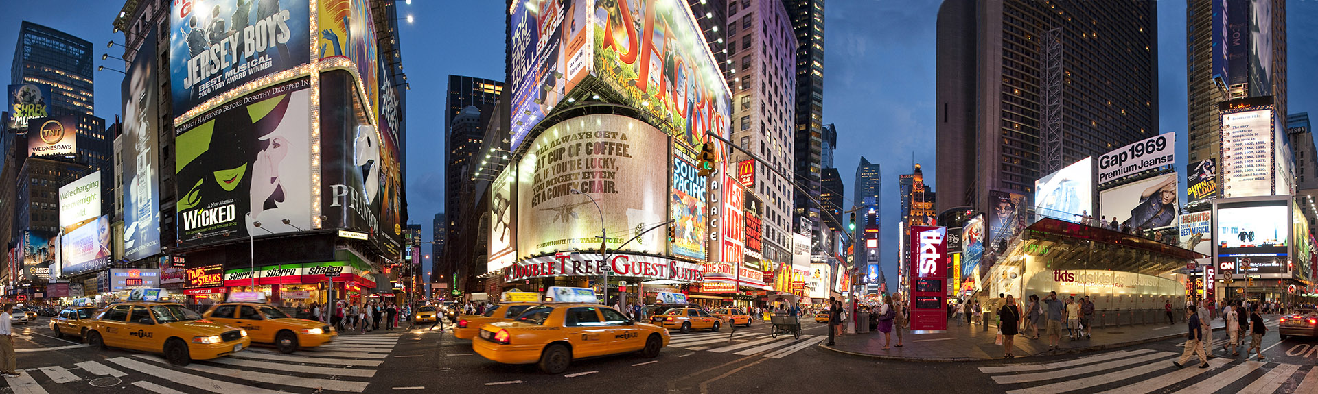 Panoramic photo of Times Square